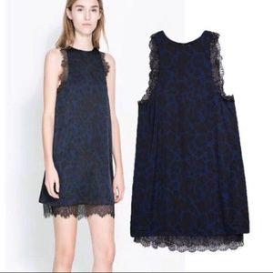 Navy/black Leopard dress with lace